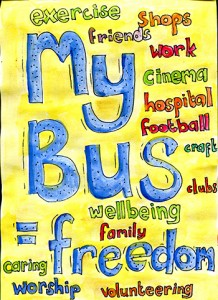 my buses blue words small